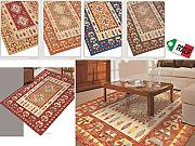 "By Suardi - Tappeto arredo """"Kilim"""" in ciniglia cm 85x150 Made in Italy ARANCIO"
