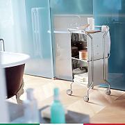 carrello da bagno cassettiera 39x45xh94 cm con telaio in acciaio inox 1810 cubi in alluminio weel