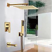 gowe 10 in soffione doccia quadrato finitura dorata per vasca da bagno