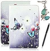 "HB-Int Colorato Fiore Farfalla Flip Stand Case Cover For Samsung Galaxy Tab S 8.4"""" T700 Ultra Slim Shockproof Dirt Proof PU Leather Flip Smart Stand + dust plug + stylus pen"