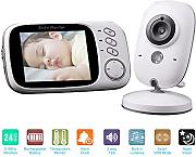 Produktbild: KKmoon 3.2in 2.4GHz Supporto Fotocamera Wireless Baby Monitor + Auto Coppia Plug and Play 2 Vie Conversazione IR Night View Temperatura Musica VOX Batteria Ricaricabile per Domestica Sicurezza
