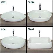 lavabo bianco dappoggio in ceramica bagno disponibile in varie forme e misure design moderno