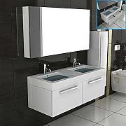 lavabo doppio set di mobili da bagno con armadietto con specchio armadietto bianco lucido con funzione