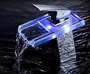 Mangeoo Led Temperature Control Faucet, Washbasin, Washbasin, Pan, All Copper Hot And Cold Waterfall, Basin Faucet, Luminous Faucet,Led Self Generating Square High