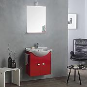 mobile lavabo 58 cm specchio e luce rosso lampone bagno piccolo