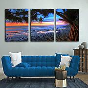Pittura a olio Coastal Beach decorazione pittura arredamento su tela Modern Wall Art poster stampe su tela tela pittura, include framed, 14X20
