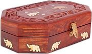 Rakhi Gift for Sister Majestic Wooden Jewellery Box Organiser Keepsake Storage Chest Hand Carved with Elephant Brass Inlay by Store Indya