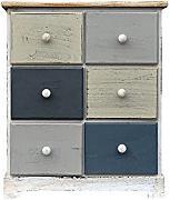 rebecca srl cassettiera comodino mobile cucina 6 cassetti legno paulownia bianco blu grigio vintage camera da