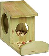 Relaxdays Hanging Squirrel feeder, in legno, resistente alle intemperie, AxLxP: ca. 17.5 x 12 x 25 cm, verde