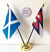 Scotland & Nepal da tavolo a bandiera dell'amicizia & Set Badge