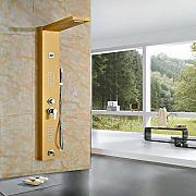 senlesen oro smalto pioggia doccia pannello 2 parti idromassaggio sistema rubinetto con colonna doccia beccuccio per