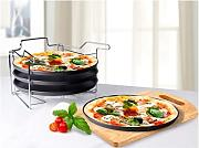 SET PIZZA 4 TEGLIE ANTIADERENTI CON SUPPORTO metallico
