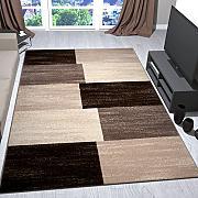 tappeto moderno beige marrone quadretti erica quadrettato pelo corto per salotto corridoio cucina vimoda