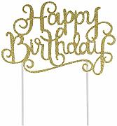 10 PZ Glitter Happy Birthday Cake Topper/Cupcake