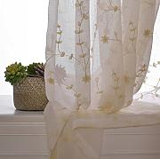 100% Handmade Lovely Floral Embroidery Sheer