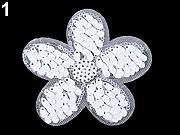 1pc 1 Bianco Ab Ferro-on Patch di Fiori Con