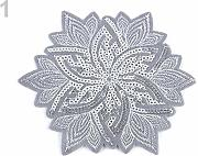 1pc 1grey Argento Ferro-on Patch di Fiori Con