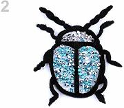1pc 2 Turchese Ferro-on Patch Beatle Con Strass,