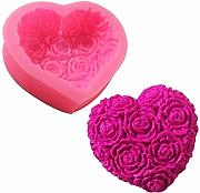 1pc 3d Love Love Heart Rose Flower Shape Silicone