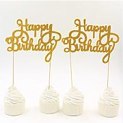 1PCS Gold glitter Happy Birthday cake topper Picks