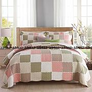 3 Pz Quilted Patchwork Copriletto King Size 100%
