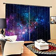 3D Blackout Curtains 2 Panel Eyelet Ring Top