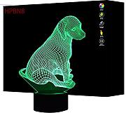 3D Cane Night Light Lamp 7 cambiamento di colore