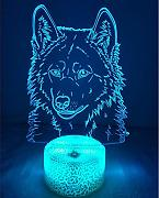3D Lupo Night Light Lamp 7 cambiamento di colore