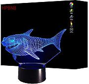 3D Squalo Night Light Lamp 7 cambiamento di colore