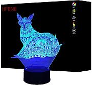 3D Volpe Night Light Lamp 7 Cambiamento di Colore