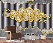 3D Wallpaper - 3D Gold Foil Gold - Murale