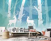 3D Wallpaper - Nordic Elk Forest Background -