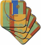3dRose CST 11214 _ 3 Colorful Art Deco-Ceramic