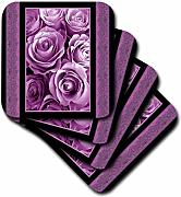 3dRose Plum Puple Rose Bouquet Surrounded by