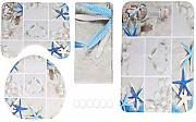 4 pezzi / set Starfish Shower Curtain Piedistallo