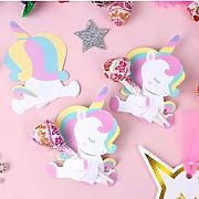 Addobbi 25Pcs Baby Shower Unicorn Lollipop Carte