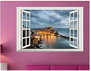 Adesivi Murali Seaside 3D Window Night View
