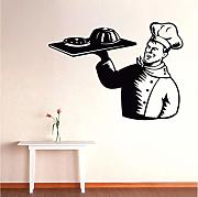 Adesivo Murale Man Chef Cook With Dish Food
