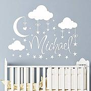 Adesivo Murale Moon With Stars Wall Decal Clouds