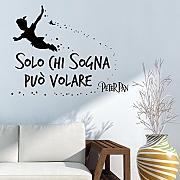 "Adesivo4You ® Adesivo murale """" Solo chi sogna può volare"""" peter pan wall sticker (LARGE 106 CM. X 40)"