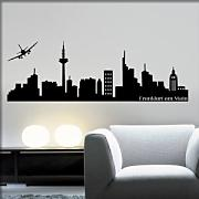 "Adesivo4You ®Adesivo Murale """"Skyline di Frankfurt """" Wall sticker Vinyl Decal Adesivo Prespaziato Decorativo in Vinile Design Arredamento (LARGE 150 X 27 CM., ARGENTO)"