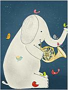 AdoDecor CKunstoon - Poster musicale con elefante,