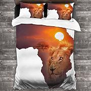 AIMILUX Set Biancheria Letto,Africa Wildlife Map