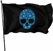 ALLdelete# Flags Flag Skull with Weed Leaf Banner