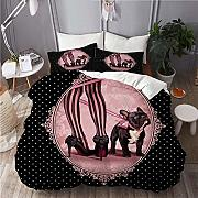 ALLMILL Set Biancheria da Letto,Pink Dog My French