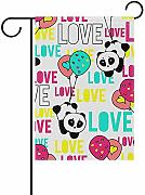 AmyNovelty Outdoor Yard Flag,Panda Love Simpatiche