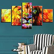 Animal Canvas Paintings Modular 5 Pieces HD