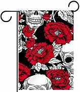 ART VVIES Garden Flag Skull And with Flowers