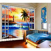 ATR The Living Room Curtains Foto 3D Love Sea