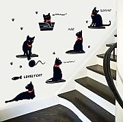 AWYUAN Cute Playing Black Cats Pvc Wall Art Decals